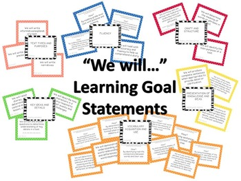 "2nd Grade ELA CCSS Learning Goal Cards WITH ""I can..."" Statements"