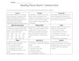 2nd Grade ELA Choice Board Common Core