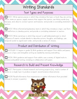 2nd Grade ELA Common Core Checklist - Chevron & Owl Edition