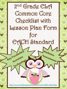 2nd Grade ELA Common Core Checklist - Lesson Planning Form