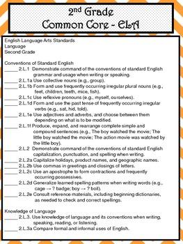 2nd Grade ELA Common Core Checklist - Lesson Planning Form - Orange Chevron