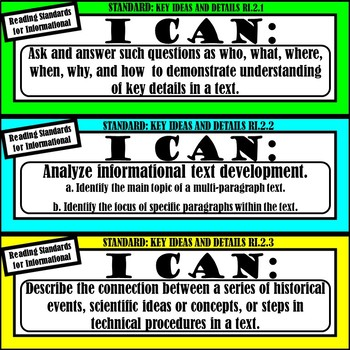 """2nd Grade ELA """"I Can Statements"""" (Common Core Aligned)"""