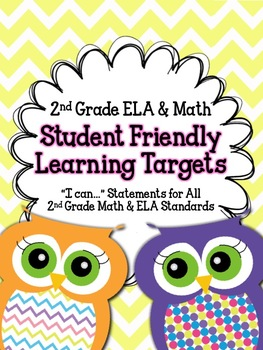 2nd Grade ELA & Math Student Friendly Learning Target Posters- Chevron & Owls