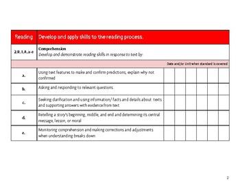 2nd Grade ELA Missouri Learning Standards Checklist of Skills