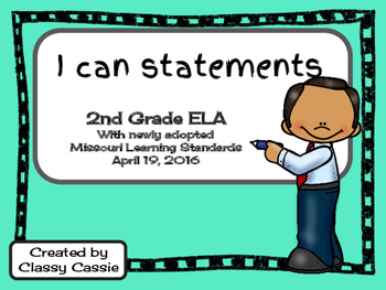 2nd Grade ELA Missouri Learning Standards I can Statement & Checklist