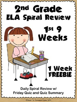 2nd Grade ELA Spiral Review ~ 1 Week FREEBIE