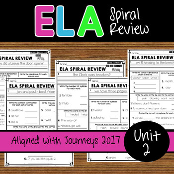 2nd Grade ELA Spiral Review - Unit 2 Weeks 6-10 - Journeys 2017 Edition