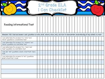 2nd Grade ELA Standard/Target Checklist