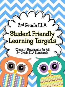 """2nd Grade ELA Student Friendly Learning Targets- """"I can..."""" Posters"""