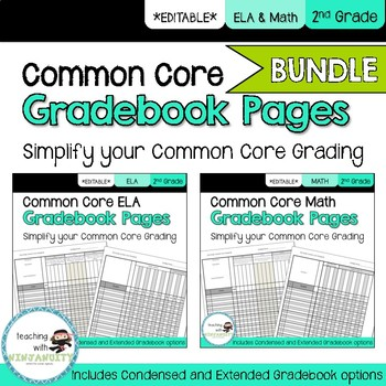 2nd Grade ELA and Math Common Core **EDITABLE** Gradebook Pages **BUNDLE**