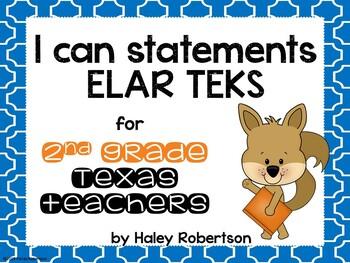 """2nd Grade ELAR """"I can"""" statements- Tile pattern (using TEKS)"""
