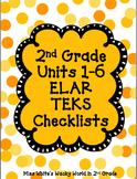 2nd Grade ELAR Units 1-6 ELAR Checklists BUNDLE