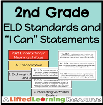 """2nd Grade ELD Standards / """"I Can"""" Statements"""