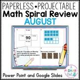 2nd Grade Editable August Math Spiral Review PowerPoint an