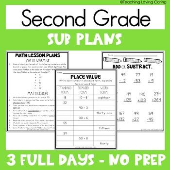 Second Grade Emergency Sub Plans - 3 FULL DAYS!!!