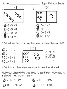 2nd Grade EnVision Topic 1 Study Guide