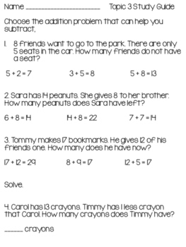 2nd Grade EnVision Topic 3 Study Guide