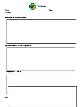 2nd Grade End of School Year Reflection Sheet