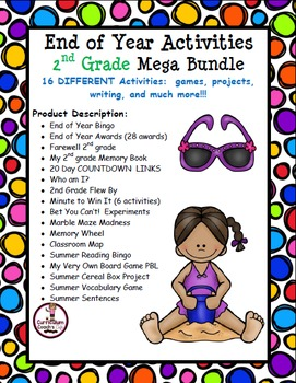 2nd Grade End of Year Mega Bundle:   Projects, Games, Awards, Etc.