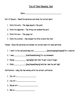 2nd Grade End of Year Reading Test (Aligned to Wonders)