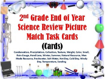 2nd Grade End of Year Science Picture Match Task Cards (30 Cards)