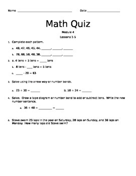 2nd Grade Engage NY Module 4 Quiz Topic A
