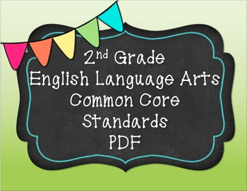 2nd Grade English Language Arts Common Core Standards PDF
