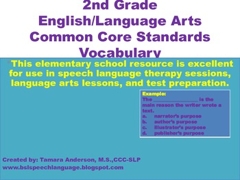 2nd Grade English/Language Arts Common Core Standards Vocabulary