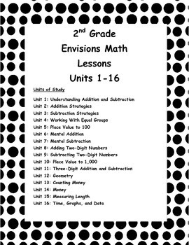 2nd Grade Envisions Daily Math Lesson Plans for Topics 1-16! (Editable)