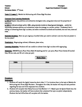 2nd Grade Envisions Math Formal Lesson Plan 11-7