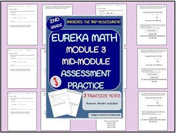 2nd Grade Eureka Math Module 3 / Mid- Module Assessment Practice / 3 Tests