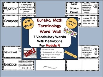 2nd Grade Eureka Math Module 4 Terminology Word Wall with Definitions