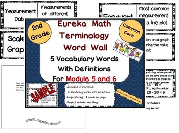2nd Grade Eureka Math Module 5 and 6 New Terminology Word Wall With Definitions