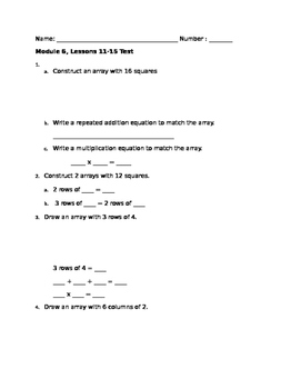 2nd Grade Eureka Math - Module 6, Lessons 11-15 Test