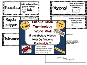 2nd Grade Eureka Math Module 7 New Terminology Word Wall With Deffinitions