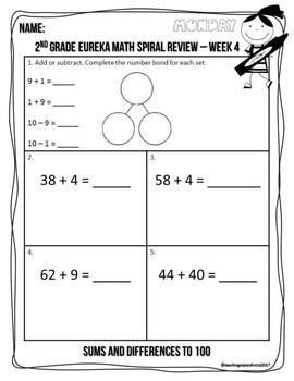 2nd Grade Eureka Math Spiral Review - Week 4