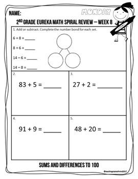 2nd Grade Eureka Math Spiral Review - Week 8