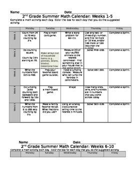 2nd Grade Eureka Math Summer Calendar 10 Weeks