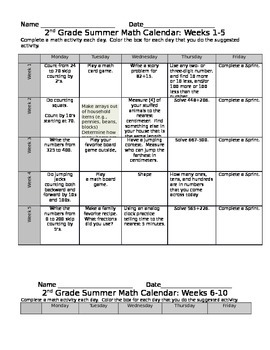 2nd Grade Eureka Math Summer Calendar 10 Weeks
