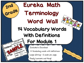 2nd Grade Eureka Math Terminology Word Wall with Definitions for Module 1