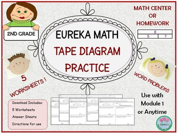 2nd Grade Eureka Math Word Problems with Tape Diagram Practice Mod 1 or Anytime