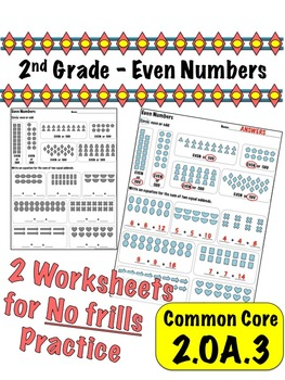 2nd Grade Even Numbers - Common Core 2.OA.3