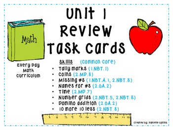 2nd Grade EveryDay Math Task Cards-Test Review Units 1-6