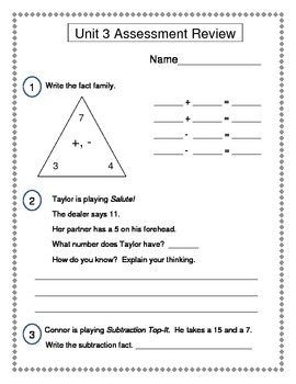 2nd Grade Everyday Math (EDM4) Unit 3 Review