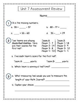 2nd Grade Everyday Math (EDM4) Unit 7 Assessment Review