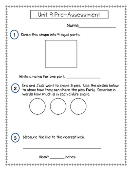 2nd Grade Everyday Math (EDM4) Unit 9 Pre-Assessment
