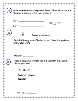 2nd Grade Everyday Math (EDM4) Unit 9 Pre-Assessment