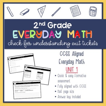 2nd Grade Everyday Math Exit Slips (Unit 1)