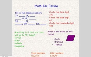 Everyday Math 2nd Grade SmartBoard Lessons Unit 1