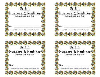 2nd Grade Everyday Math: Unit 1 Numbers &Routines Review Study Guide